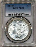 1884-O MORGAN PCGS MINT STATE 64 WHITE UNCIRCULATED SILVER DOLLAR COIN NEW ORLEANS MINT