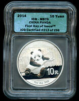 2014 CHINA 1OZ SILVER PANDA ICG MS70 FIRST DAY OF ISSUE 213