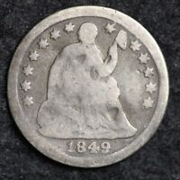 1849-O SEATED LIBERTY HALF DIME CHOICE SHIPS FREE E156 T