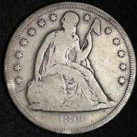 1860-O SEATED LIBERTY DOLLAR CHOICE VG SHIPS FREE E332 RCLM
