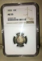 1835 CAPPED BUST DIME NGC AU 55  TONING