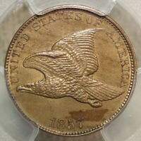 1857 FLYING EAGLE CENT, CHOICE UNCIRCULATED PCGS MINT STATE 62, SHARP ORIGINAL TYPE
