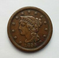 1855 BRAIDED HAIR LARGE CENT UPRIGHT 55 EXTRA FINE   EYE APPEAL