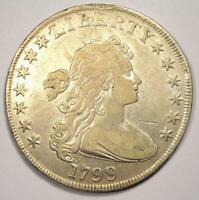 1799 DRAPED BUST SILVER DOLLAR $1 - CHOICE VF DETAILS -  TYPE COIN