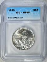 1925 STONE MOUNTAIN COMMEM HALF ICG MINT STATE 65