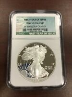 1986 S PROOF AMERICAN SILVER EAGLE 1OZ NGC GRADED PF69 ULTRA CAMEO FIRST YEAR