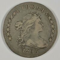 1798 DRAPED BUST SILVER DOLLAR $1  FINE VF DETAILS SLIGHTLY DAMAGED