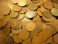 5 OLD INDIAN HEAD CENTS / PENNY 5-COINS 1880 THRU 1908 ALL DIFFERANT DATES