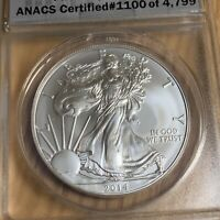 2014-S $1 SILVER AMERICAN EAGLE ANACS MS70 FIRST DAY OF ISSUE - 100