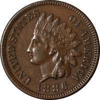 1886 TY 1 INDIAN CENT CHOICE EXTRA FINE  SUPERB EYE APPEAL STRONG STRIKE