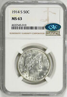 1914-S 50C BARBER HALF DOLLAR NGC CAC MINT STATE 63