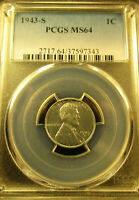 1943-S LINCOLN WHEAT CENT / PENNY PCGS REGISTERED     MINT STATE 64          2242012
