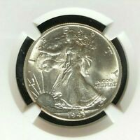 1943 WALKING LIBERTY SILVER HALF DOLLAR  NGC MINT STATE 65  BEAUTIFUL COIN REF51-016