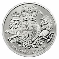 2020 GREAT BRITAIN 1 OZ SILVER ROYAL COAT OF ARMS 2 COIN GEM BU SKU60667