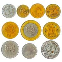 10 DIFFERENT COINS FROM MOROCCO. ARABIC AFRICAN MONEY. SANTIMAT FRANCS DIRHAM