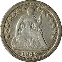 1842-O SEATED LIBERTY HALF DIME  F  EYE APPEAL TOUGH TO FIND