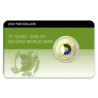 2020 75TH ANNIVERSARY OF THE END OF WWII $2 COLOUR AL BR COIN PACK UNCIRCULATED