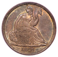 1837 H10C NO STARS, LARGE DATE LIBERTY SEATED HALF DIME PCGS MINT STATE 62