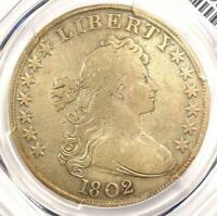 1802 DRAPED BUST SILVER DOLLAR $1 - CERTIFIED PCGS FINE DETAILS -  COIN