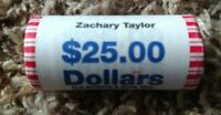 ZACHARY TAYLOR ONE DOLLAR PRESIDENTIAL COINS UNCIRCULATED. MINT ROLL {25 COINS}