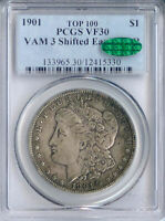 1901 DDR MORGAN DOLLAR VAM 3 SHIFTED EAGLE VF30 PCGS CAC TOP 100 PA12415330