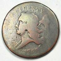 1793 LIBERTY CAP FLOWING HAIR HALF CENT COPPER 1/2C -  FIRST YEAR COIN