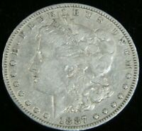 1887-O  MORGAN SILVER DOLLAR VF BRIGHT WITH SOME LUSTER IN SAFLIP HC114