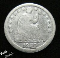 1850 SEATED LIBERTY HALF DIME <> VG DETAILS