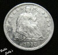 1858 SEATED LIBERTY HALF DIME <> XF DETAILS