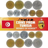 SET OF 9 COINS FROM TUNISIA. 1 2 5 10 20 50 100 MILLIMES 1/2 AND 1 DINAR