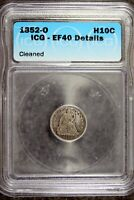1852 - O ICG EF40 DETAILS CLEANED SEATED LIBERTY HALF DIME B20732