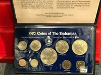 1970 BAHAMAS 9 COIN SILVER MINT SET  MADE BY THE FRANKLIN MI
