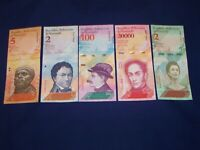 LOT OF 5 DIFFERENT BANK NOTES FROM VENEZUELA UNCIRCULATED