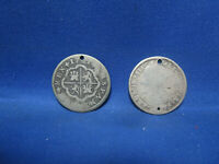 LOT OF 2 SPANISH MEXICO 2 REALES COINS  HOLED 1725 AND 1775