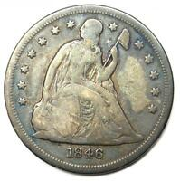 1846-O SEATED LIBERTY SILVER DOLLAR $1 - FINE / VF DETAILS - NEW ORLEANS COIN