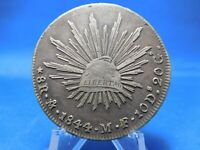 1844 8 REALES MEXICO MF DS GS SILVER COIN