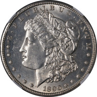 1890-CC MORGAN SILVER DOLLAR NGC MINT STATE 62  EYE APPEAL  LUSTER  STRIKE