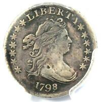 1798/7 DRAPED BUST DIME 10C 16 STARS - PCGS VF DETAILS -  OVERDATE COIN