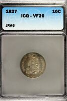 1827 - ICG VF20 CAPPED BUST DIME B12536