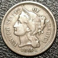 1865 THREE CENT NICKEL TRIME 3C USA OBSOLETE TYPE COIN LIBERTY HEAD