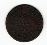 1789 A FRENCH GUIANA 2 SOUS COIN