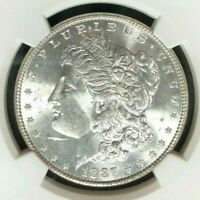 1887 MORGAN SILVER DOLLAR  NGC MINT STATE 64  BEAUTIFUL COIN REF72-031