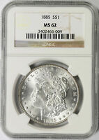 1885 $1 MORGAN DOLLAR NGC MINT STATE 62