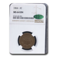 1866 TWO CENT PIECE MINT STATE 64 NGC CAC BROWN - SKU211275