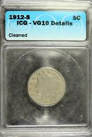 1912 - S ICG VG10 DETAILS CLEANED LIBERTY V NICKEL B18781