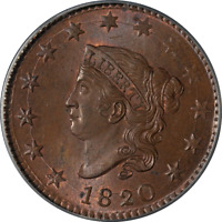 1820 LARGE CENT PCGS MS65RB CAC STICKER N.13 R.1 SUPERB EYE APPEAL STRONG STRIKE