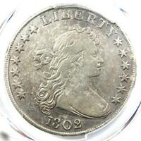 1802 DRAPED BUST SILVER DOLLAR $1 COIN - CERTIFIED PCGS VF DETAILS -  DATE