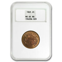 1865 TWO CENT PIECE MINT STATE 64 NGC RED/BROWN - SKU17852