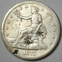 1875 CC TRADE SILVER DOLLAR T$1   VF DETAILS WITH CHOP MARKS    COIN