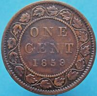 1859 WIDE 9 OVER 8 VARIETY CANADA CANADIAN LARGE 1 CENT VICTORIA COIN